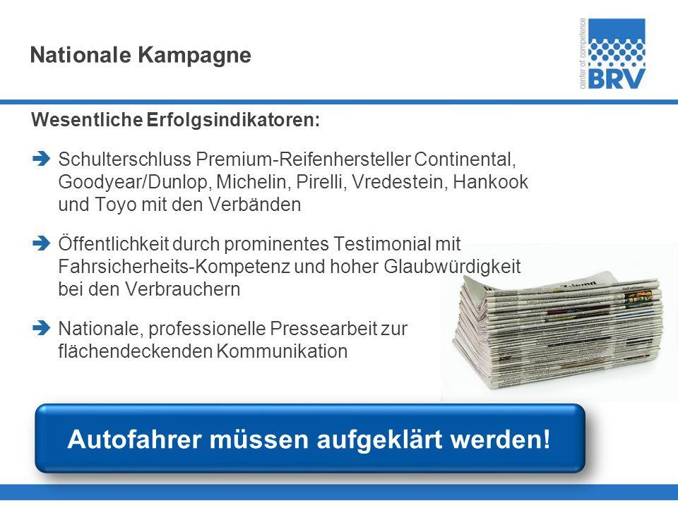 Nationale Kampagne Wesentliche Erfolgsindikatoren: Schulterschluss Premium-Reifenhersteller Continental, Goodyear/Dunlop, Michelin, Pirelli, Vredestei