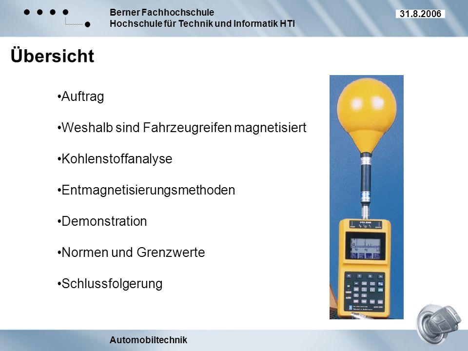 Berner Fachhochschule Hochschule für Technik und Informatik HTI Automobiltechnik 31.8.2006 Übersicht Auftrag Weshalb sind Fahrzeugreifen magnetisiert
