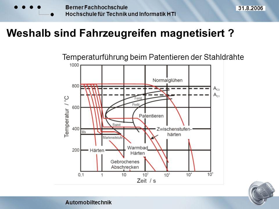 Berner Fachhochschule Hochschule für Technik und Informatik HTI Automobiltechnik 31.8.2006 Weshalb sind Fahrzeugreifen magnetisiert ? Temperaturführun