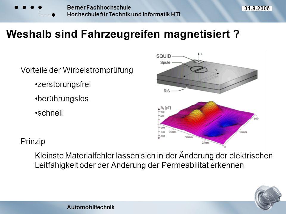 Berner Fachhochschule Hochschule für Technik und Informatik HTI Automobiltechnik 31.8.2006 Weshalb sind Fahrzeugreifen magnetisiert ? Vorteile der Wir