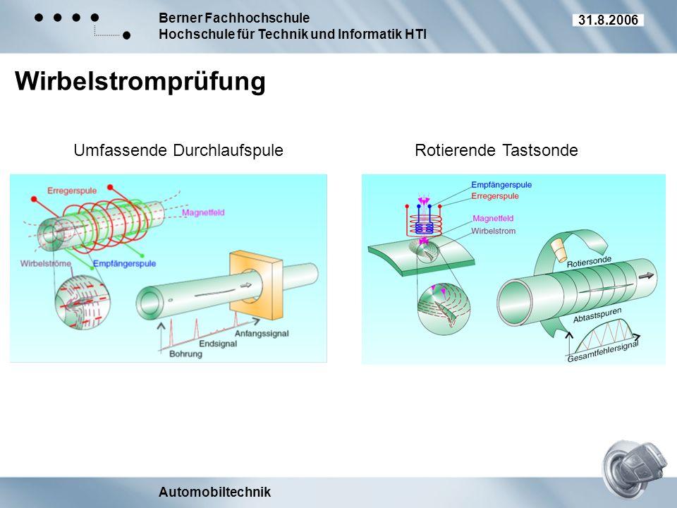 Berner Fachhochschule Hochschule für Technik und Informatik HTI Automobiltechnik 31.8.2006 Wirbelstromprüfung Umfassende DurchlaufspuleRotierende Tast
