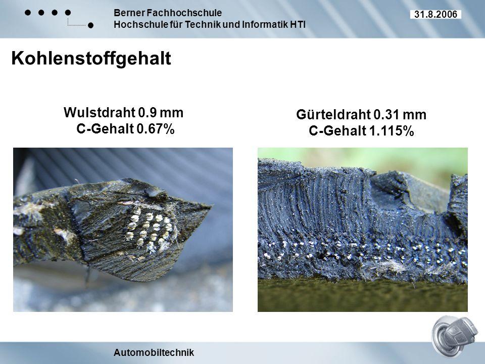 Berner Fachhochschule Hochschule für Technik und Informatik HTI Automobiltechnik 31.8.2006 Kohlenstoffgehalt Wulstdraht 0.9 mm C-Gehalt 0.67% Gürteldr