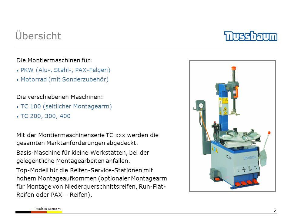 Made in Germany 2 Die Montiermaschinen für: PKW (Alu-, Stahl-, PAX-Felgen) Motorrad (mit Sonderzubehör) Die verschiebenen Maschinen: TC 100 (seitliche