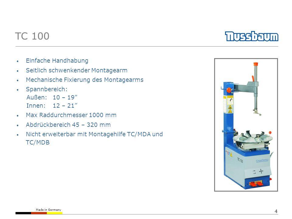 Made in Germany 4 TC 100 Einfache Handhabung Seitlich schwenkender Montagearm Mechanische Fixierung des Montagearms Spannbereich: Außen:10 – 19 Innen: