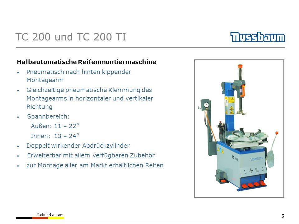Made in Germany 5 TC 200 und TC 200 TI Halbautomatische Reifenmontiermaschine Pneumatisch nach hinten kippender Montagearm Gleichzeitige pneumatische