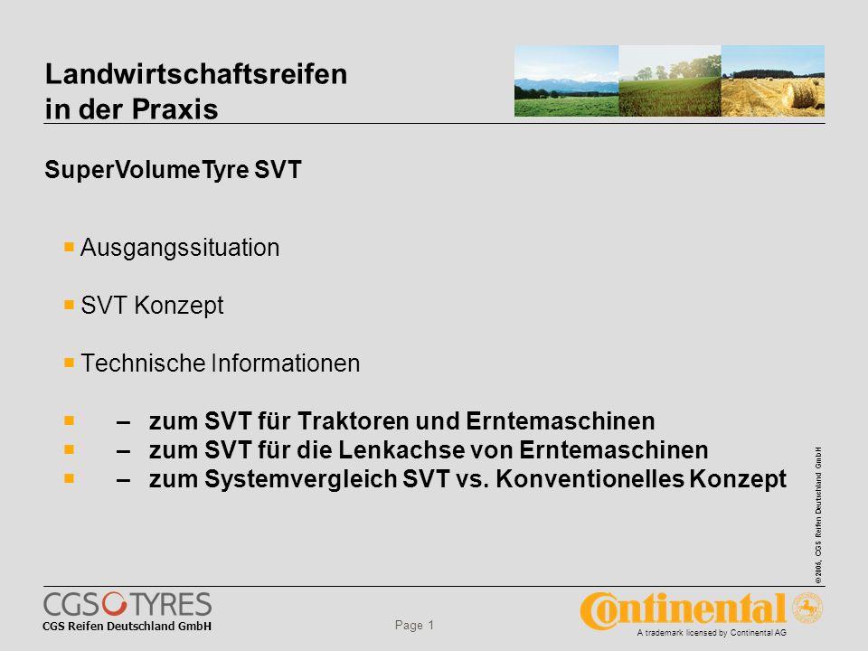 CGS Reifen Deutschland GmbH © 2005, CGS Reifen Deutschland GmbH A trademark licensed by Continental AG Page 2 Landwirtschaftsreifen in der Praxis Trend zu leistungsstarken Traktoren Die Anzahl der Zulassungen im Bereich der Traktoren über 180 PS ist in den letzten Jahren europaweit deutlich gestiegen; insbesondere im obersten Leistungssegment von 200 PS und mehr.