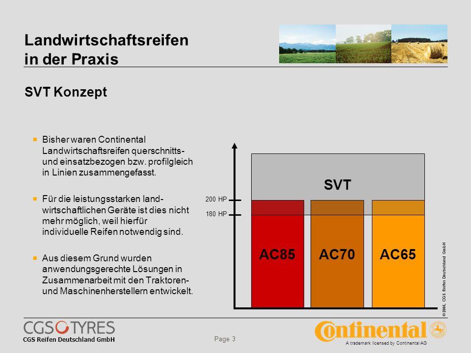 CGS Reifen Deutschland GmbH © 2005, CGS Reifen Deutschland GmbH A trademark licensed by Continental AG Page 3 Landwirtschaftsreifen in der Praxis SVT Konzept Bisher waren Continental Landwirtschaftsreifen querschnitts- und einsatzbezogen bzw.