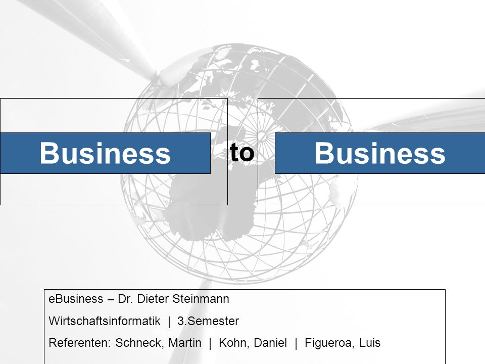Business to eBusiness – Dr.