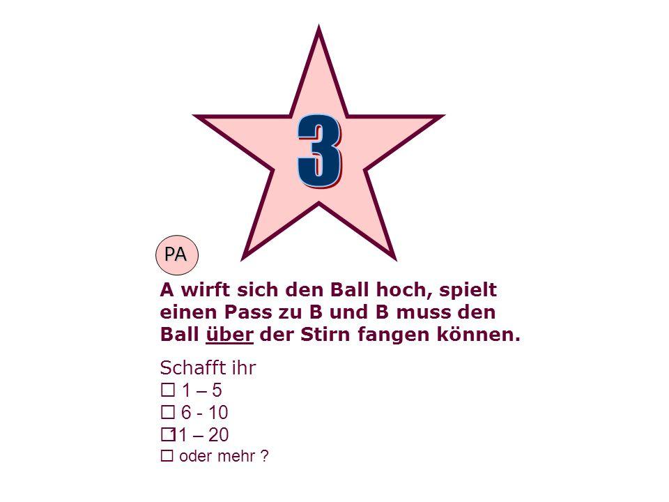 A wirft sich den Ball hoch, spielt einen Pass zu B und B muss den Ball über der Stirn fangen können.