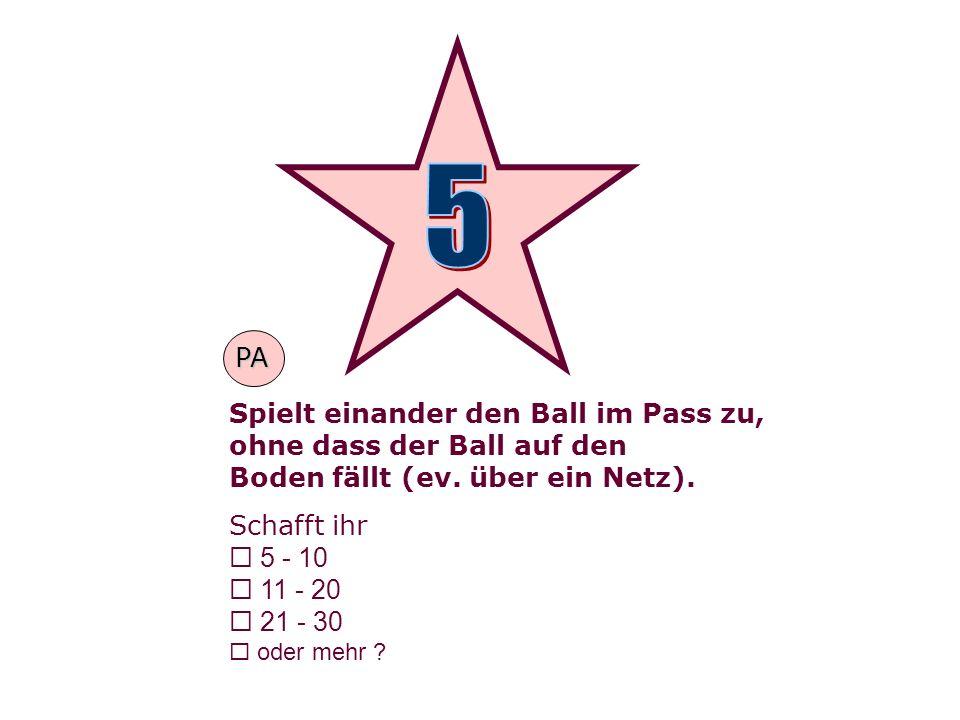 Spielt einander den Ball im Pass zu, ohne dass der Ball auf den Boden fällt (ev.