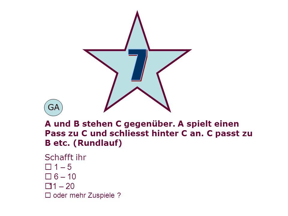 A und B stehen C gegenüber. A spielt einen Pass zu C und schliesst hinter C an.