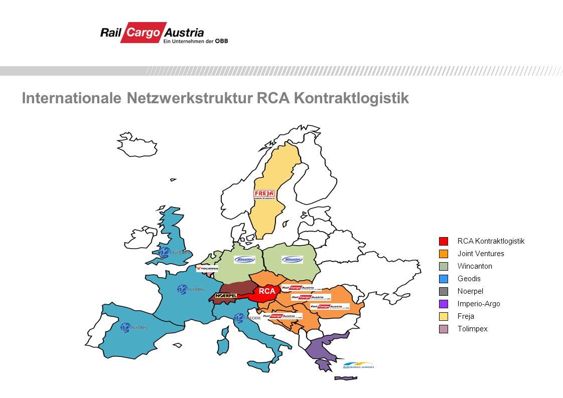 RCA Kontraktlogistik Wincanton Joint Ventures Geodis Noerpel Imperio-Argo Freja Tolimpex RCA Internationale Netzwerkstruktur RCA Kontraktlogistik
