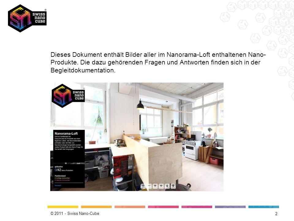 © 2011 - Swiss Nano-Cube Dieses Dokument enthält Bilder aller im Nanorama-Loft enthaltenen Nano- Produkte.
