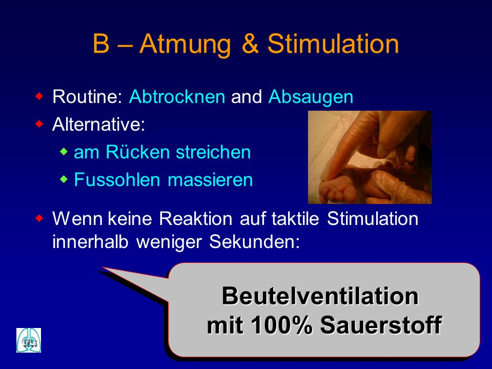 B – Atmung & Stimulation Routine: Abtrocknen and Absaugen Alternative: am Rücken streichen Fussohlen massieren Wenn keine Reaktion auf taktile Stimula