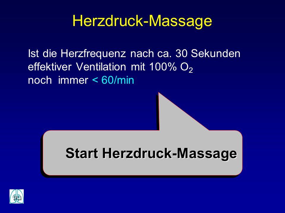 Ist die Herzfrequenz nach ca. 30 Sekunden effektiver Ventilation mit 100% O 2 noch immer < 60/min Herzdruck-Massage Start Herzdruck-Massage