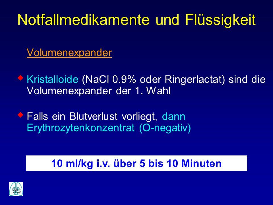 Volumenexpander Kristalloide (NaCl 0.9% oder Ringerlactat) sind die Volumenexpander der 1. Wahl Falls ein Blutverlust vorliegt, dann Erythrozytenkonze