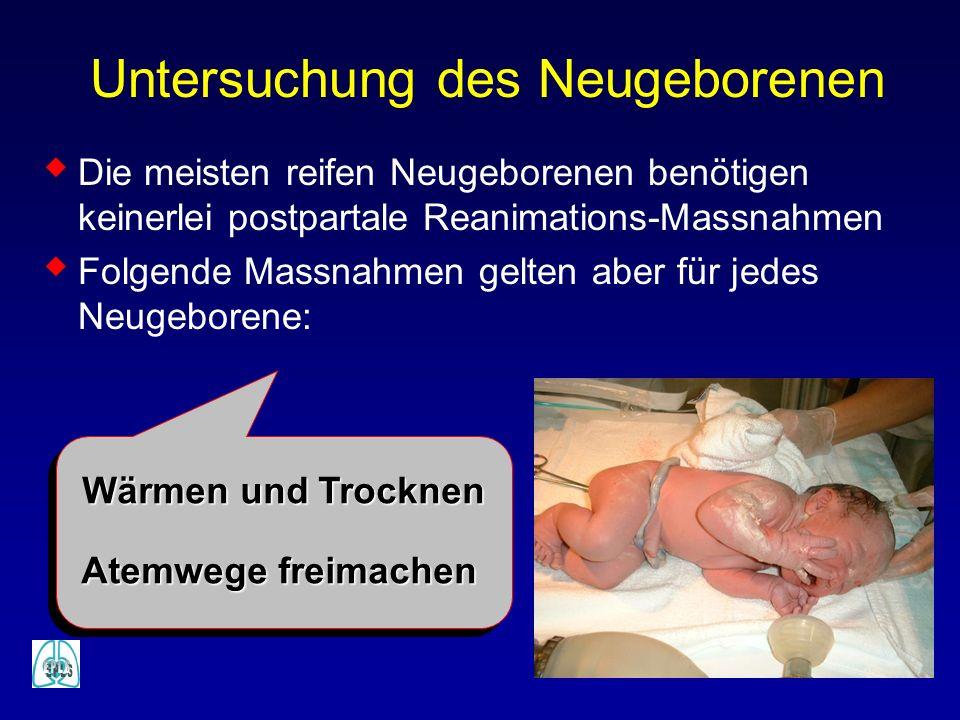 Die meisten reifen Neugeborenen benötigen keinerlei postpartale Reanimations-Massnahmen Folgende Massnahmen gelten aber für jedes Neugeborene: Untersu