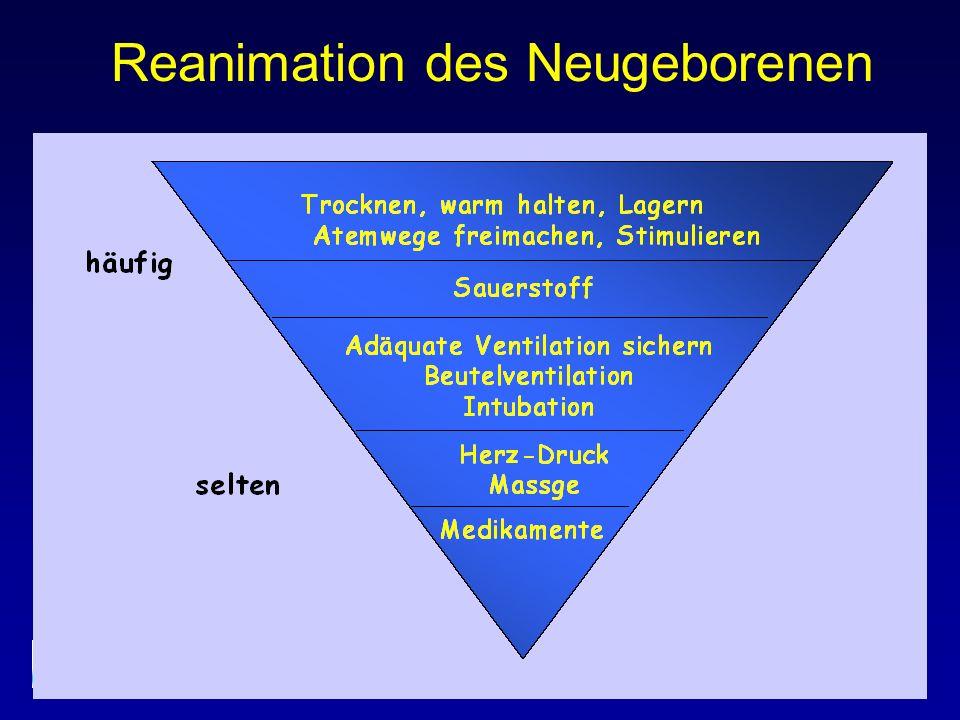 Ethik Eine Beendigung der Reanimationsmassnahmen bei Neugeborenen kann indiziert sein, wenn nach 15 min adäquater Reanimation keine spontane Herz-Kreislauffunktion erreicht werden kann