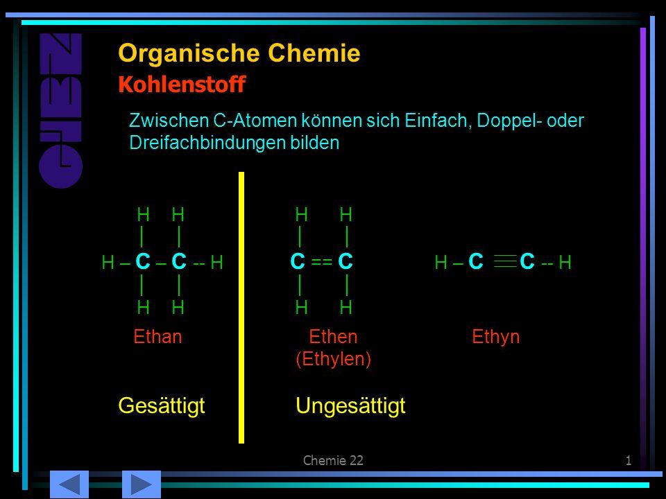 Chemie 221 Kohlenstoff Organische Chemie Zwischen C-Atomen können sich Einfach, Doppel- oder Dreifachbindungen bilden H H H – C – C -- H H H Ethan H H