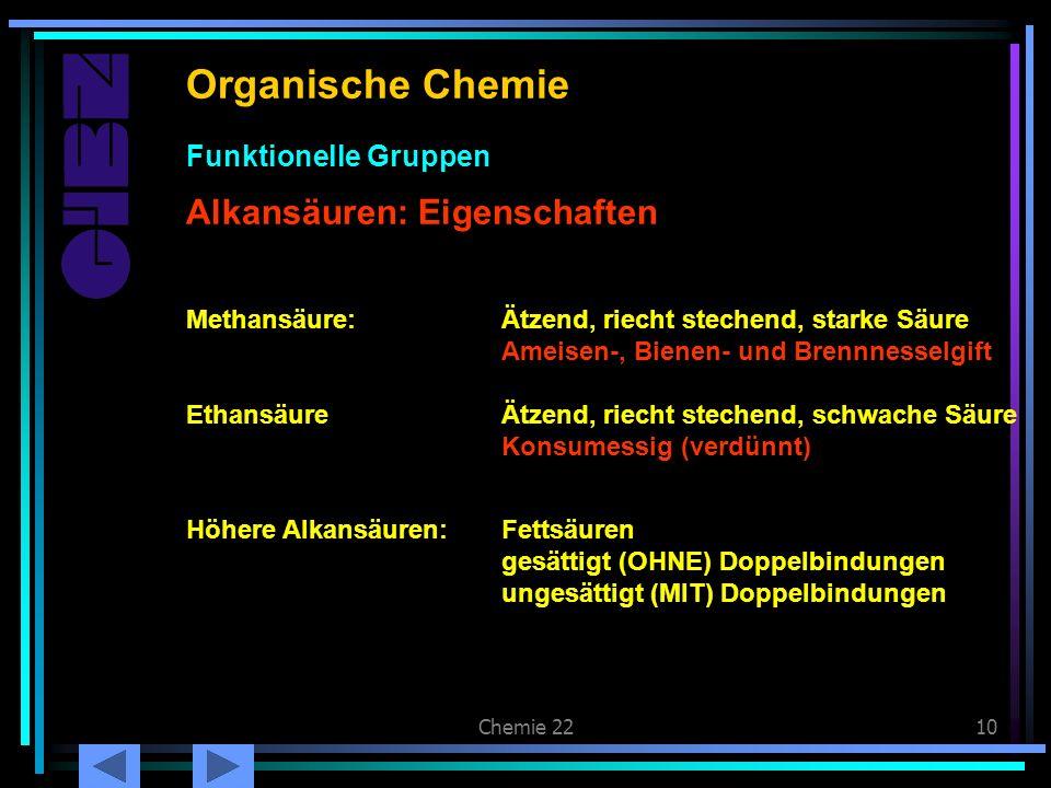 Chemie 2210 Carbonsäuren: Eigenschaften Organische Chemie Alkansäuren: Eigenschaften Funktionelle Gruppen Methansäure:Ätzend, riecht stechend, starke
