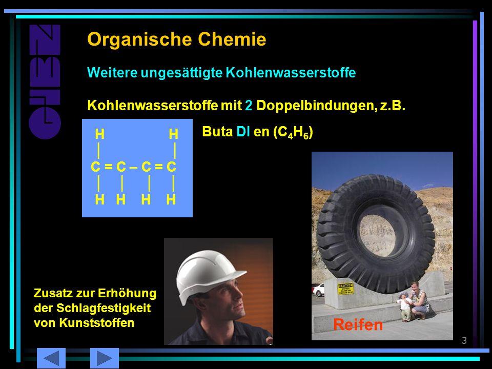 Chemie 223 Butadien Organische Chemie Weitere ungesättigte Kohlenwasserstoffe H H C = C – C = C H H H H Kohlenwasserstoffe mit 2 Doppelbindungen, z.B.