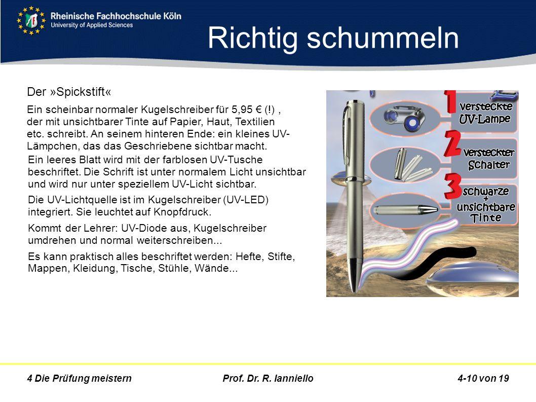 Prof. Dr. R. Ianniello4-10 von 194 Die Prüfung meistern Richtig schummeln Der »Spickstift« Ein scheinbar normaler Kugelschreiber für 5,95 (!), der mit