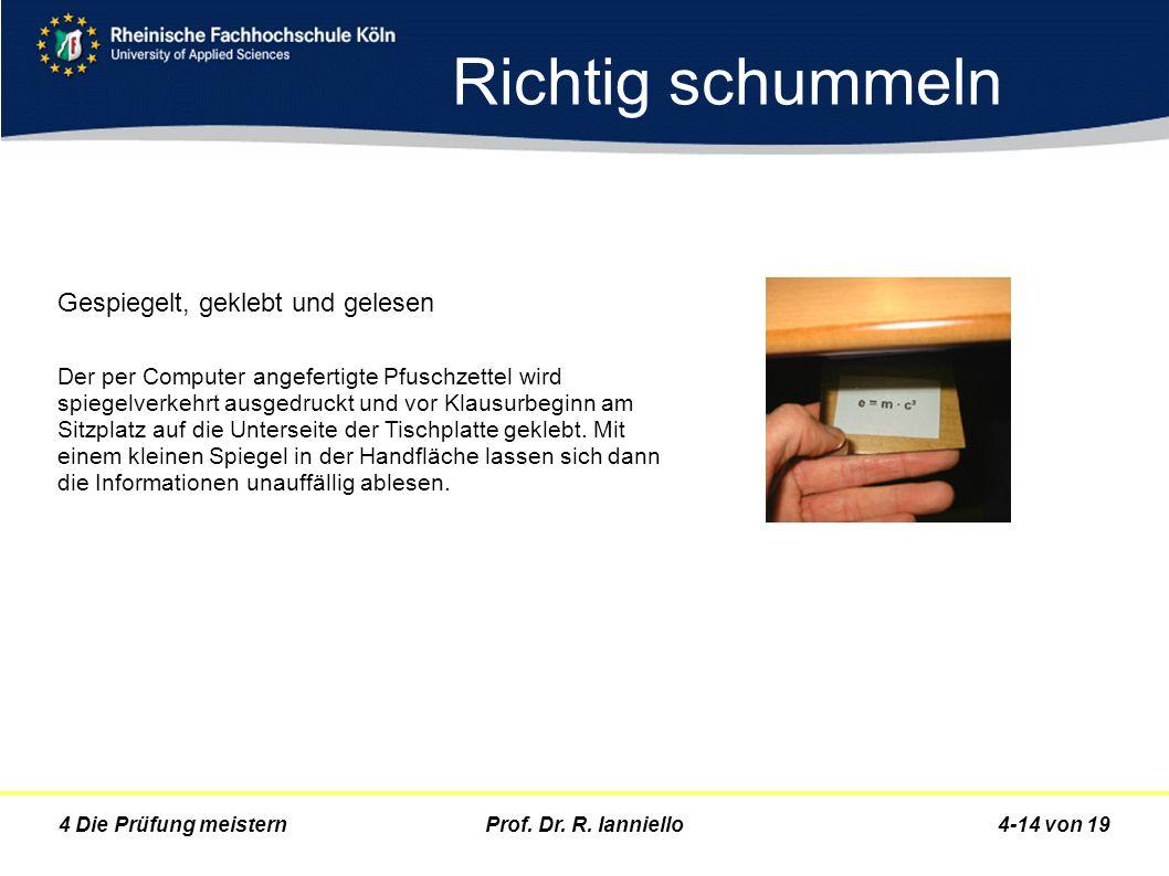 Prof. Dr. R. Ianniello4-14 von 194 Die Prüfung meistern Richtig schummeln Gespiegelt, geklebt und gelesen Der per Computer angefertigte Pfuschzettel w