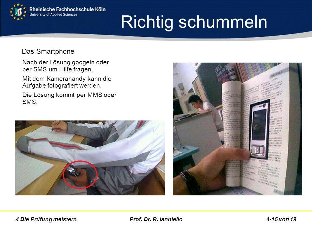 Prof. Dr. R. Ianniello4-15 von 194 Die Prüfung meistern Nach der Lösung googeln oder per SMS um Hilfe fragen. Mit dem Kamerahandy kann die Aufgabe fot