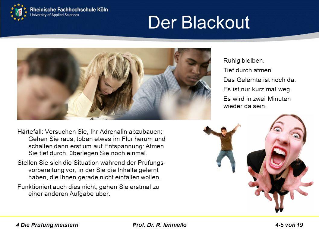 Prof. Dr. R. Ianniello4-5 von 194 Die Prüfung meistern Der Blackout Härtefall: Versuchen Sie, Ihr Adrenalin abzubauen: Gehen Sie raus, toben etwas im