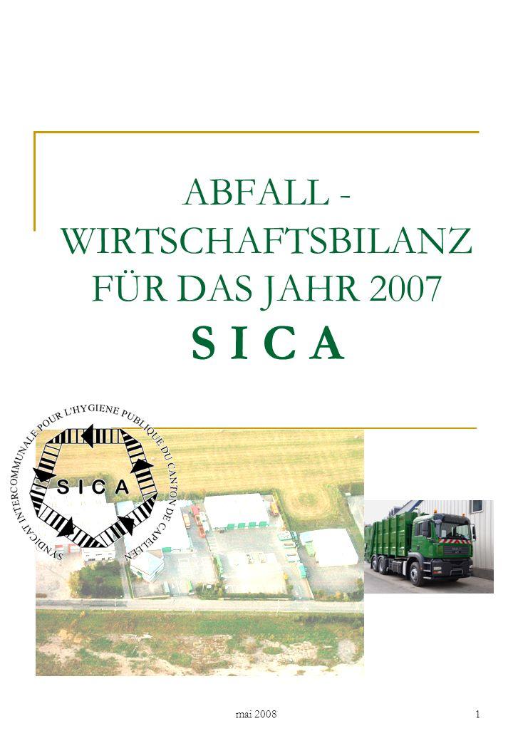 mai 2008 2 Inhaltsverzeichnis Seite 1.Allgemeines7 1.1Öffentlichkeitsarbeit8 2.Abfallwirtschaftliche Infrastruktur - SICA9 2.1Strukturen der Abfallverwertung und Schadstoffentfrachtung9 2.1.1Organische Abfälle10 2.1.2Altpapier12 2.1.3Altglas14 2.1.4Altmetall15 2.1.5Problemstoffe16 2.1.6Kunststoffe17 2.1.7Inerte Stoffe17 2.1.8Kühlgeräte17 2.1.9Sonstige Abfälle18 2.1.10 Gebrauchtwaren19 2.1.11 PMG-Verpackungen19 2.2Strukturen der Abfallentsorgung20 3.Mengenaufkommen in 200721 3.1Separat erfasste Wert- und Schadstoffe21 3.1.1Organische Abfälle21 3.1.2Altpapier22 3.1.3Altglas23 3.1.4Altmetall24 3.1.5Problemstoffe25 3.1.6Kunststoffe26