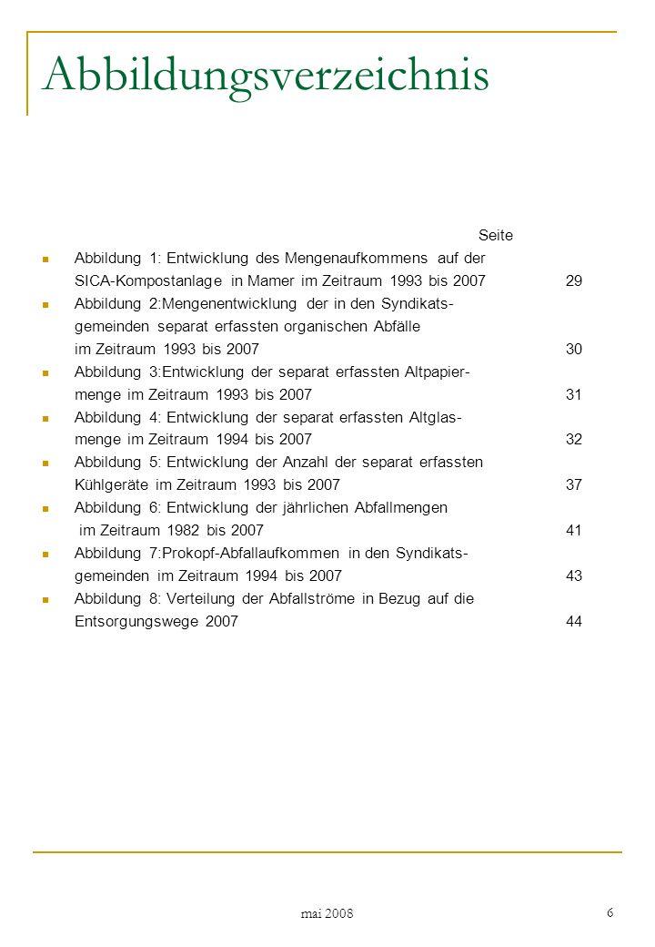 mai 2008 37 4.1.8Kühlgeräte Die Entwicklung der Anzahl der in den Syndikatsgemeinden separat erfassten Kühlgeräte im Zeitraum 1993 bis 2007 ist in Abbildung 5 dargestellt.