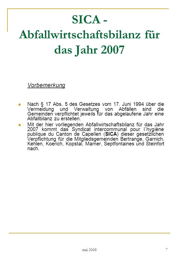 mai 2008 28 In Tabelle 16 sind die Mengen an Haus-; Sperr- und Geschäftsmüll ausgewiesen, die im Berichtsjahr 2007 aus den Syndikatsgemeinden über die vom Abfallwirtschaftssyndikat SICA durchgeführten Abfuhren bzw.