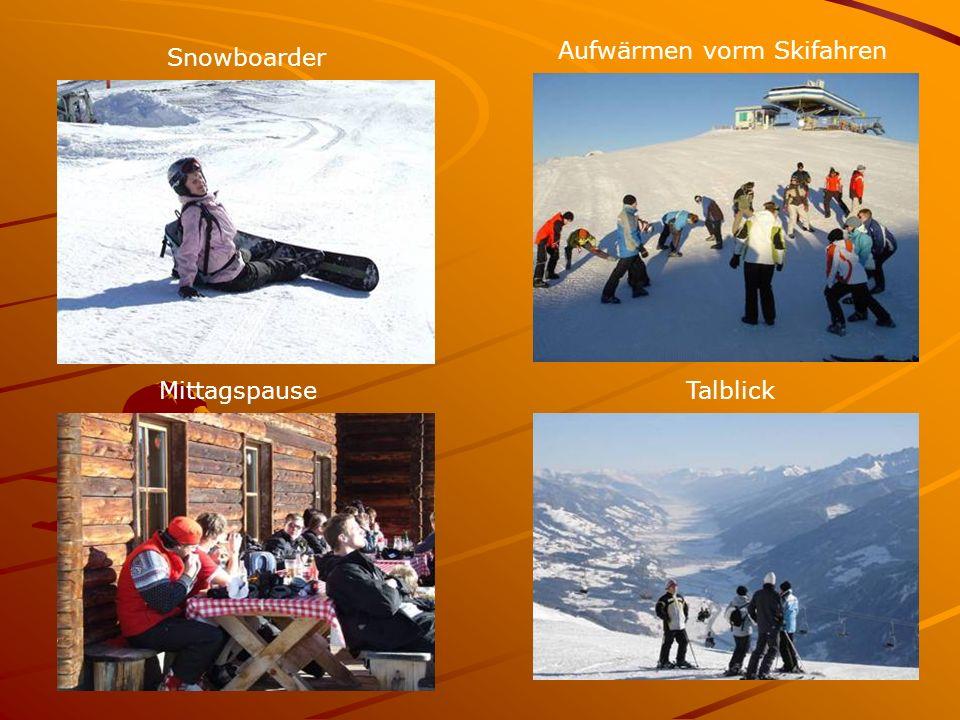 MittagspauseTalblick Aufwärmen vorm Skifahren Snowboarder