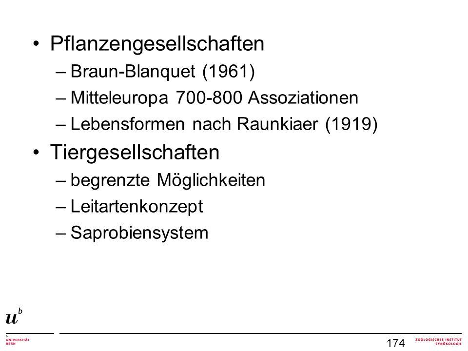 Pflanzengesellschaften –Braun-Blanquet (1961) –Mitteleuropa 700-800 Assoziationen –Lebensformen nach Raunkiaer (1919) Tiergesellschaften –begrenzte Mö