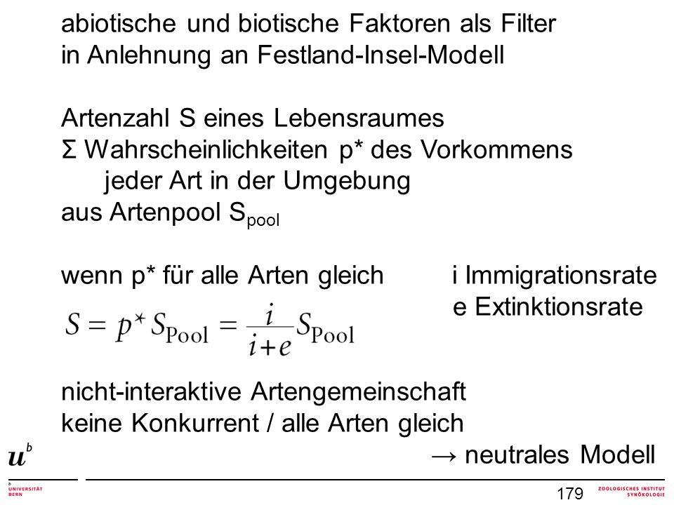 abiotische und biotische Faktoren als Filter in Anlehnung an Festland-Insel-Modell Artenzahl S eines Lebensraumes Σ Wahrscheinlichkeiten p* des Vorkom