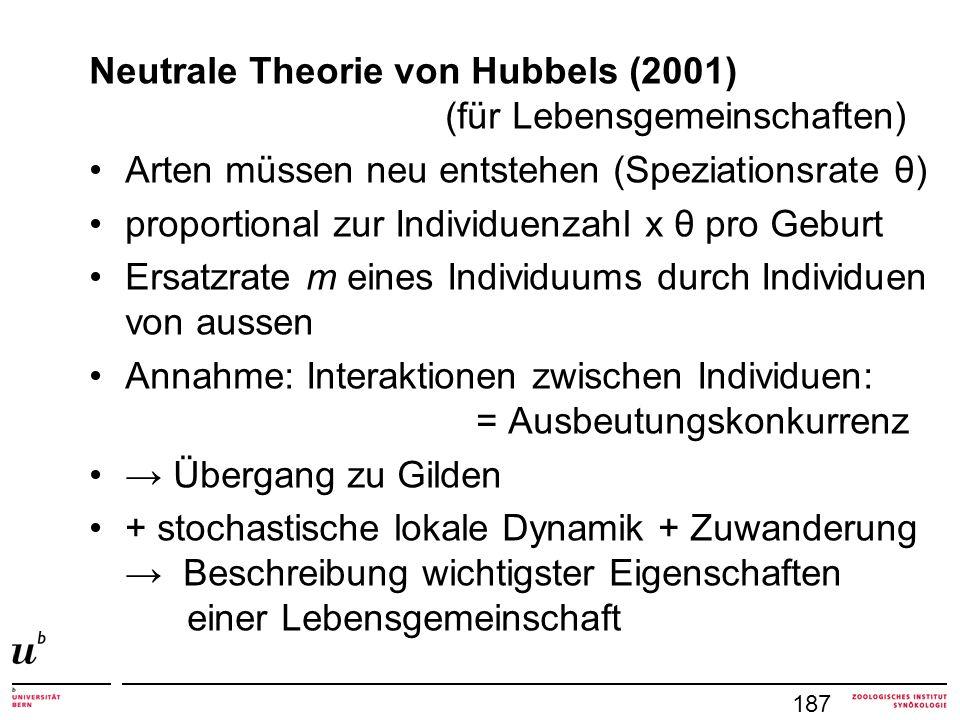 Neutrale Theorie von Hubbels (2001) (für Lebensgemeinschaften) Arten müssen neu entstehen (Speziationsrate θ) proportional zur Individuenzahl x θ pro