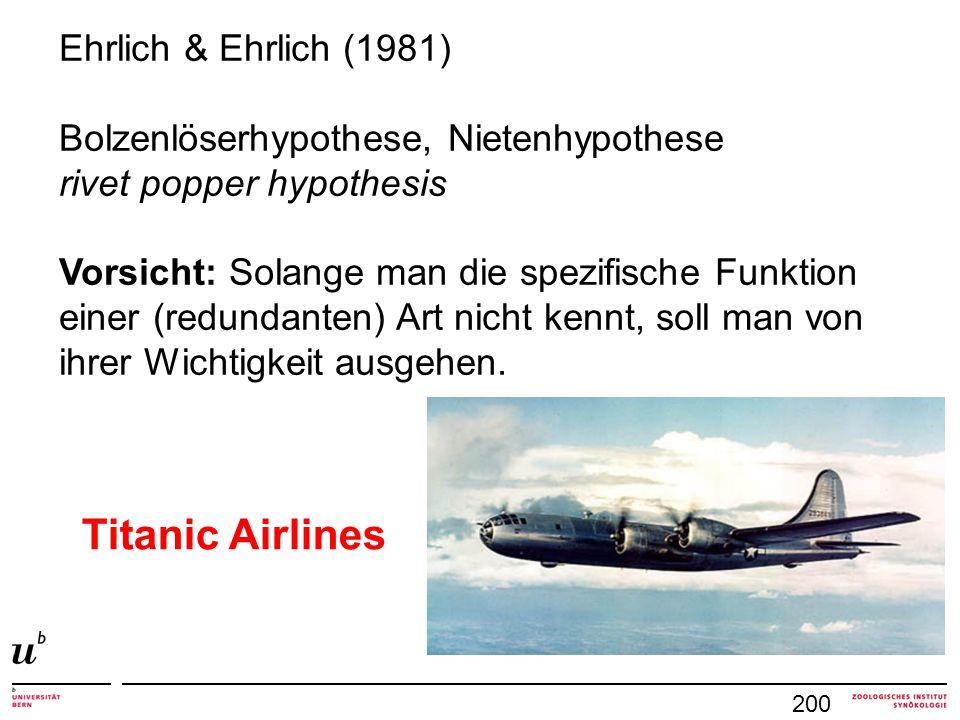 200 Ehrlich & Ehrlich (1981) Bolzenlöserhypothese, Nietenhypothese rivet popper hypothesis Vorsicht: Solange man die spezifische Funktion einer (redun