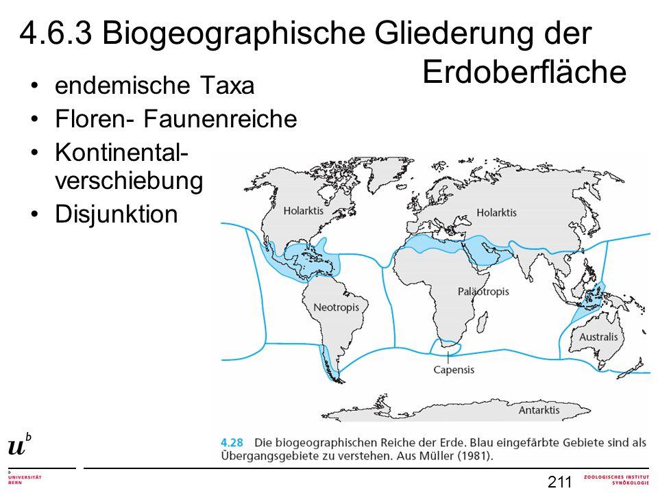 4.6.3 Biogeographische Gliederung der Erdoberfläche 211 endemische Taxa Floren- Faunenreiche Kontinental- verschiebung Disjunktion