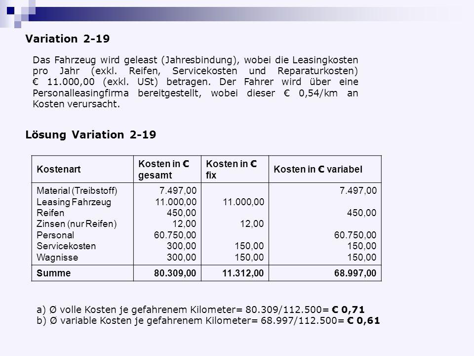 Lösung Variation 2-19 Kostenart Kosten in gesamt Kosten in fix Kosten in variabel Material (Treibstoff) Leasing Fahrzeug Reifen Zinsen (nur Reifen) Personal Servicekosten Wagnisse 7.497,00 11.000,00 450,00 12,00 60.750,00 300,00 11.000,00 12,00 150,00 7.497,00 450,00 60.750,00 150,00 Summe80.309,0011.312,0068.997,00 a) Ø volle Kosten je gefahrenem Kilometer= 80.309/112.500= 0,71 b) Ø variable Kosten je gefahrenem Kilometer= 68.997/112.500= 0,61 Variation 2-19 Das Fahrzeug wird geleast (Jahresbindung), wobei die Leasingkosten pro Jahr (exkl.
