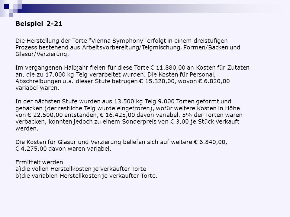 Beispiel 2-21 Die Herstellung der Torte Vienna Symphony erfolgt in einem dreistufigen Prozess bestehend aus Arbeitsvorbereitung/Teigmischung, Formen/Backen und Glasur/Verzierung.