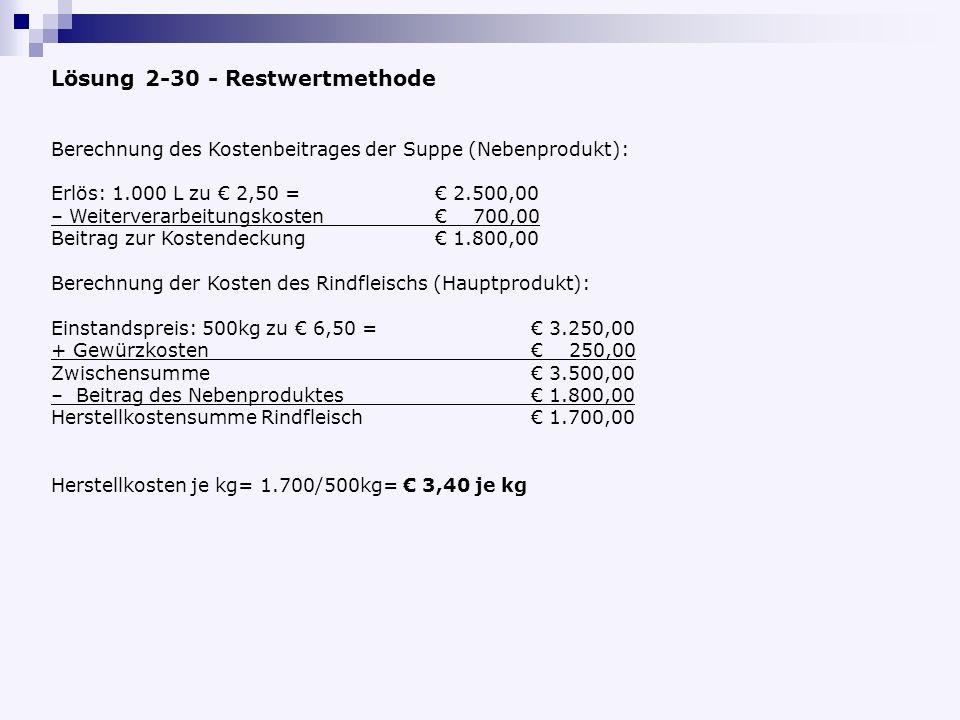Lösung 2-30 - Restwertmethode Berechnung des Kostenbeitrages der Suppe (Nebenprodukt): Erlös: 1.000 L zu 2,50 = 2.500,00 – Weiterverarbeitungskosten 700,00 Beitrag zur Kostendeckung 1.800,00 Berechnung der Kosten des Rindfleischs (Hauptprodukt): Einstandspreis: 500kg zu 6,50 = 3.250,00 + Gewürzkosten 250,00 Zwischensumme 3.500,00 – Beitrag des Nebenproduktes 1.800,00 Herstellkostensumme Rindfleisch 1.700,00 Herstellkosten je kg= 1.700/500kg= 3,40 je kg
