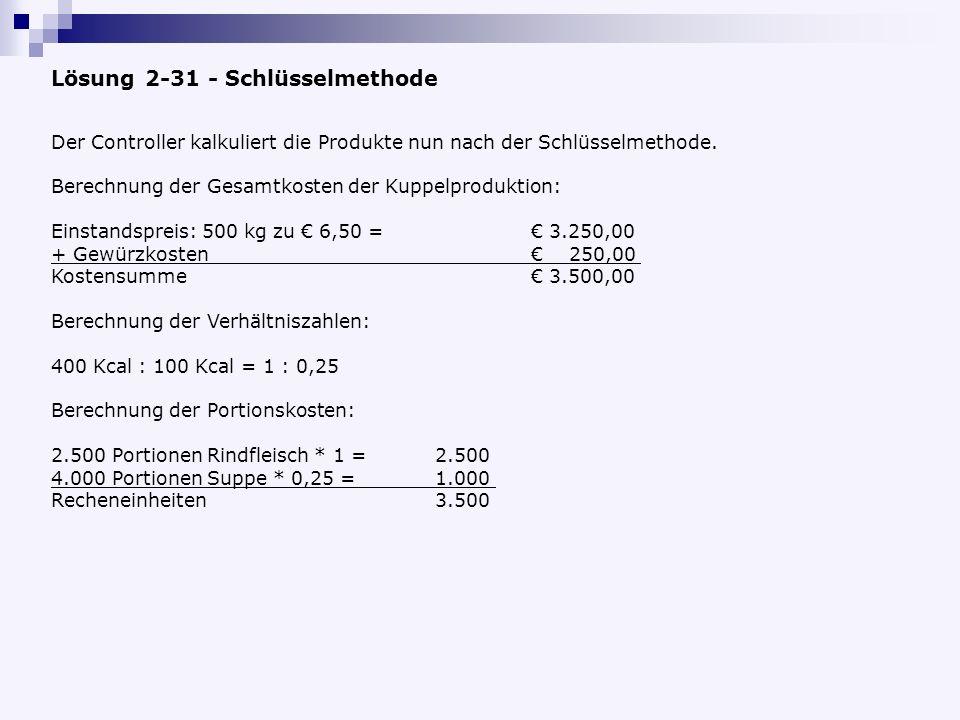 Lösung 2-31 - Schlüsselmethode Der Controller kalkuliert die Produkte nun nach der Schlüsselmethode.