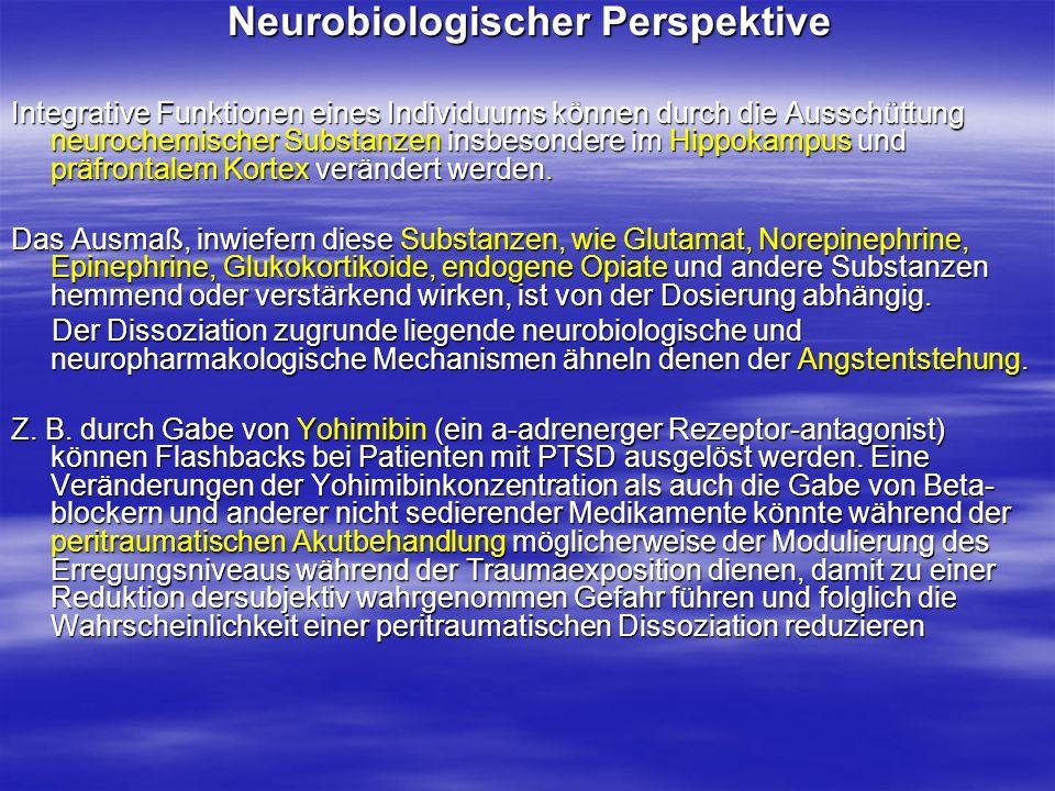 Neurobiologischer Perspektive Neurobiologischer Perspektive Integrative Funktionen eines Individuums können durch die Ausschüttung neurochemischer Sub