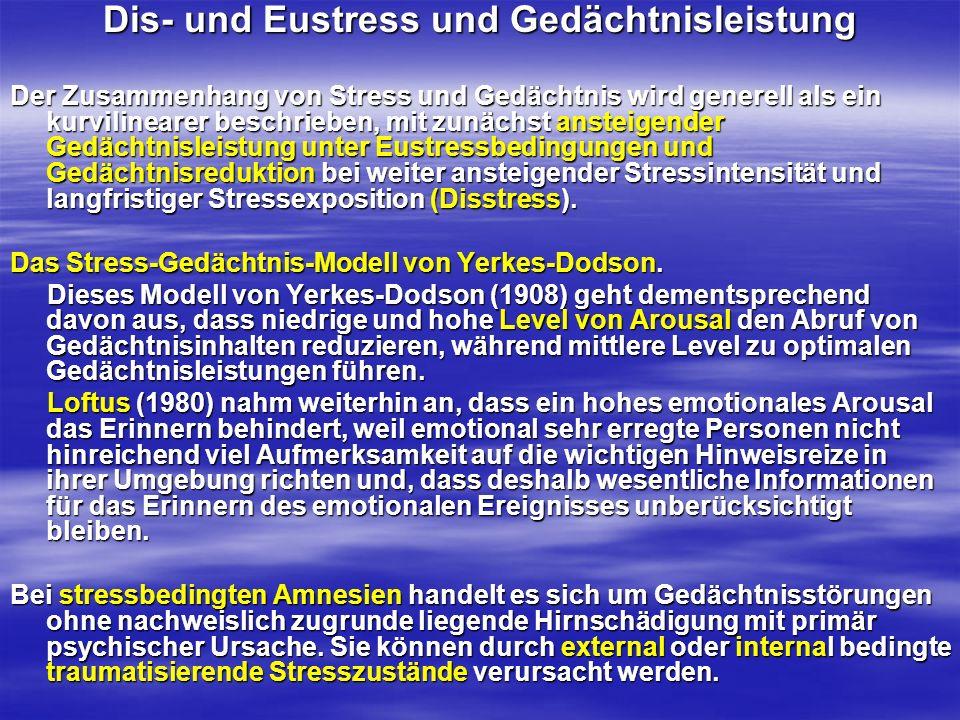 Dis- und Eustress und Gedächtnisleistung Der Zusammenhang von Stress und Gedächtnis wird generell als ein kurvilinearer beschrieben, mit zunächst anst