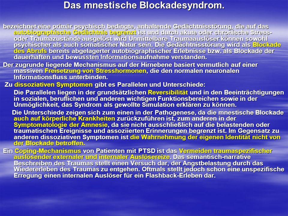 Das mnestische Blockadesyndrom. bezeichnet eine primär psychisch bedingte, anhaltende Gedächtnisstörung, die auf das autobiographische Gedächtnis begr