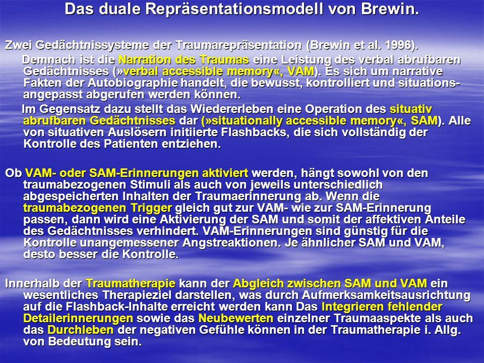 Das duale Repräsentationsmodell von Brewin. Zwei Gedächtnissysteme der Traumarepräsentation (Brewin et al. 1996). Demnach ist die Narration des Trauma