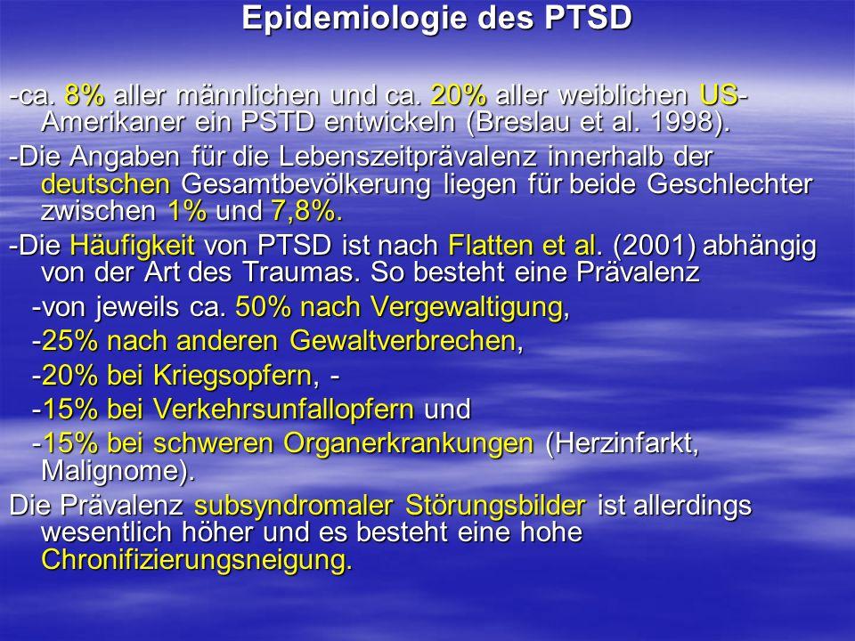 Epidemiologie des PTSD Epidemiologie des PTSD -ca. 8% aller männlichen und ca. 20% aller weiblichen US- Amerikaner ein PSTD entwickeln (Breslau et al.