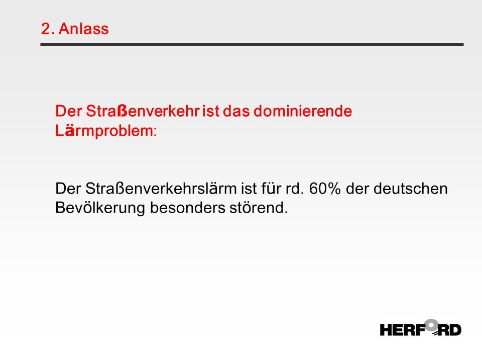 2. Anlass Der Stra ß enverkehr ist das dominierende L ä rmproblem: Der Stra ß enverkehrsl ä rm ist f ü r rd. 60% der deutschen Bev ö lkerung besonders