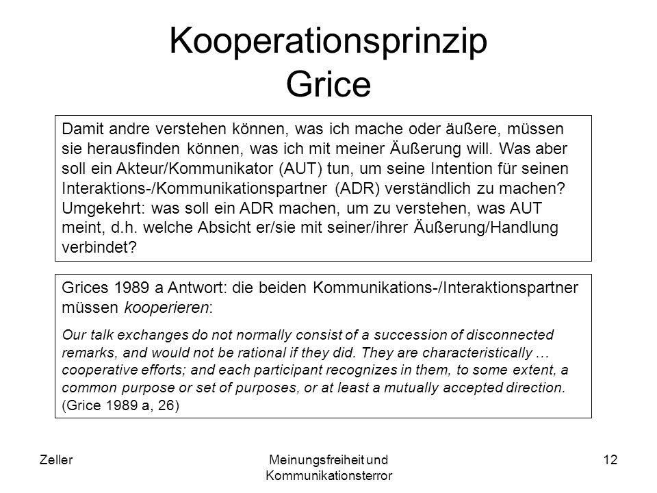 ZellerMeinungsfreiheit und Kommunikationsterror 13 Implikatur Implikatur ist ein von Grice erfundenes Kunstwort, um den Unterschied zwischen dem konventionellen oder Standardsinn einer Äußerung/ Handlung und ihrem aktuellen Sinn in einer vorliegenden Äußerungs-/ Handlungssituation erfassen zu können.