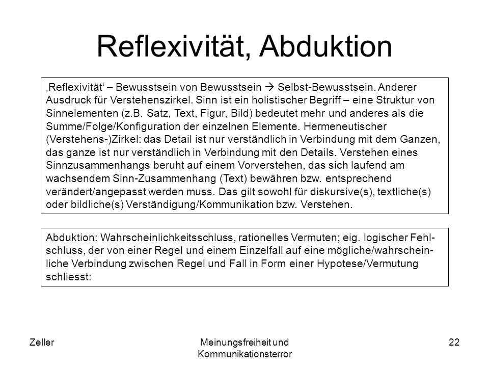 ZellerMeinungsfreiheit und Kommunikationsterror 23 Abduktionsbeispiel Prämisse 1 (Regel): alle dänischen Staatsminister (bisher) sind männlichen Geschlechts und haben blaue Augen.